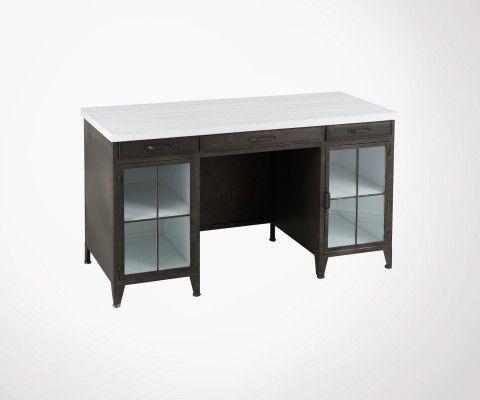 Bureau vintage bois noir et blanc DROT
