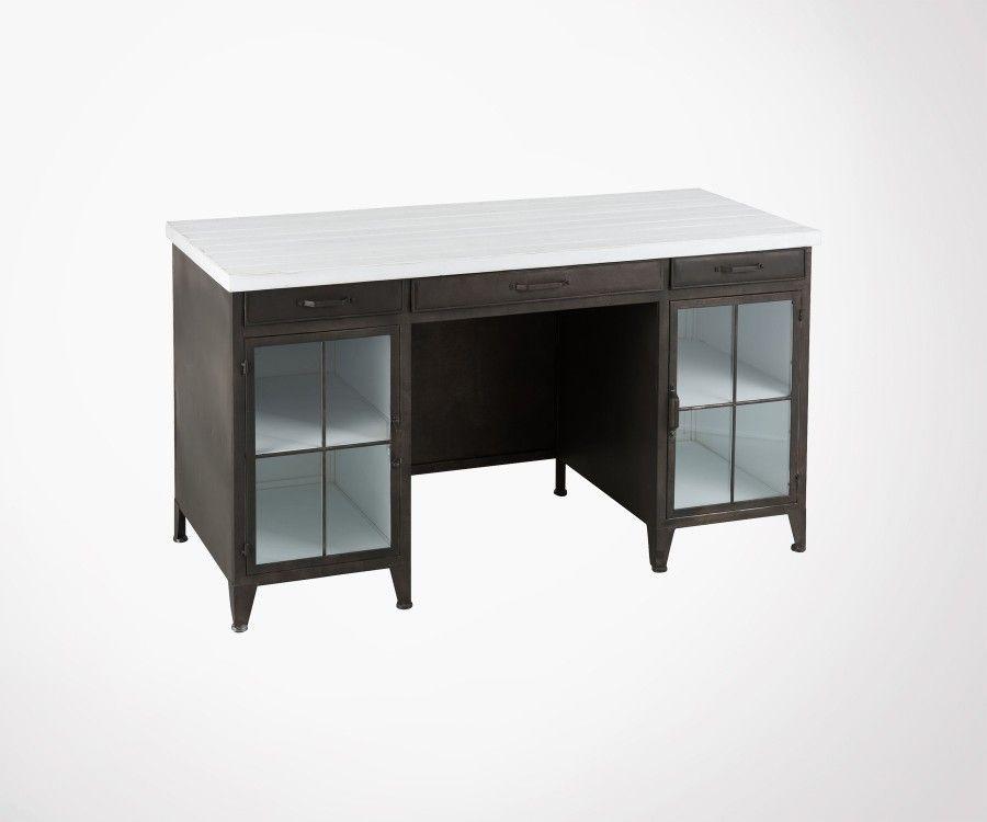 Bureau vintage bois noir et blanc DROT - J-Line