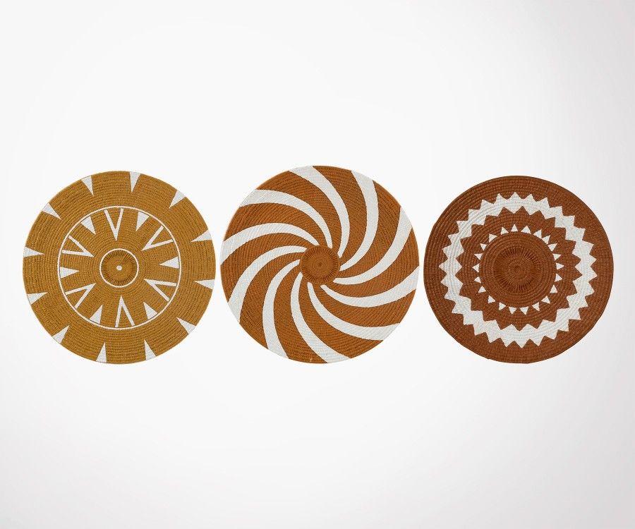 3 assiettes décoratives style bohème BOLSSO - J-Line
