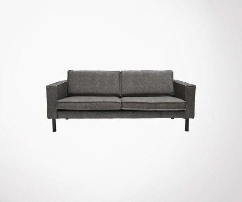 Canapé cuir 2,5 places avec pieds métal AMSTERDAM - Label 51