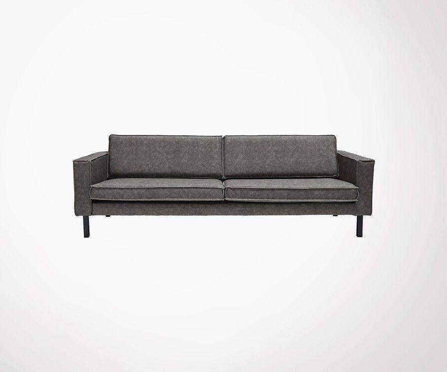 Canapé 4 places en cuir et pieds metal AMSTERDAM - Label 51