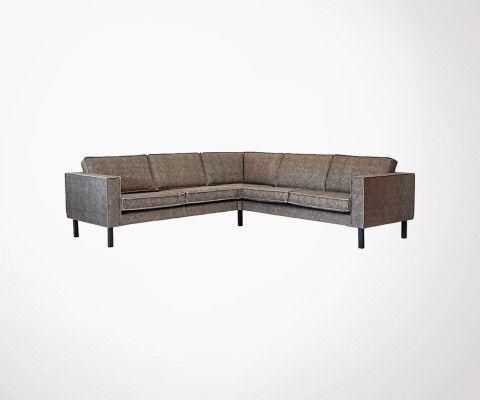 Grand canapé d'angle en cuir avec pieds metal AMSTERDAM - Label 51