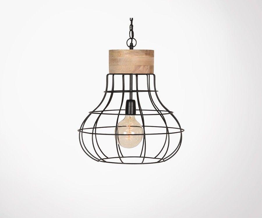 Suspension bois et métal style industriel PIX - Label 51