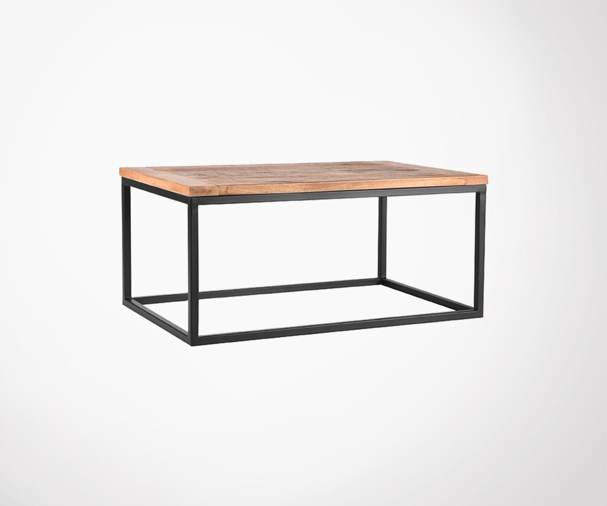 Grande Table Basse Bois grande table basse 100cm bois et métal style industriel et