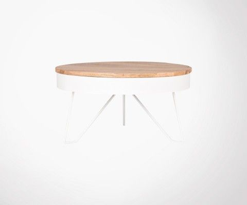 Table basse design industriel bois et metal COOPER - Label 51