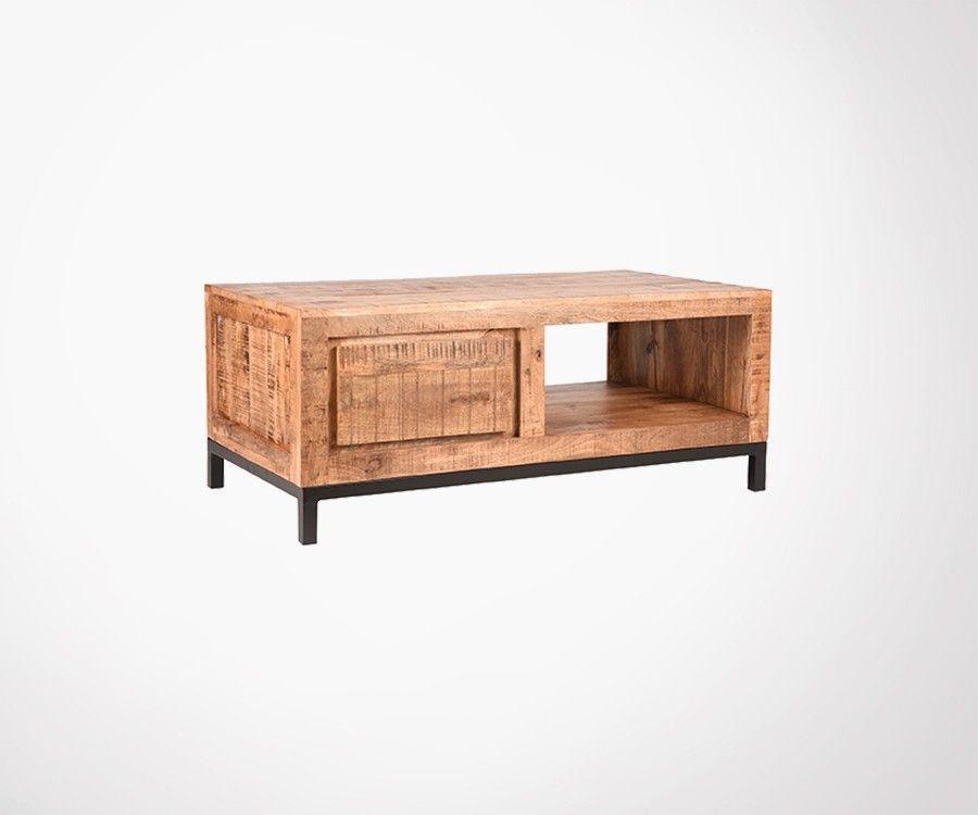 Table basse rustique en bois pieds metal JANE - Label 51