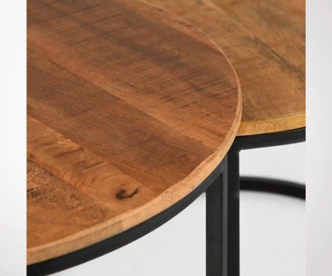 Tables gigognes style industriel metal et bois KLIK - Label 51
