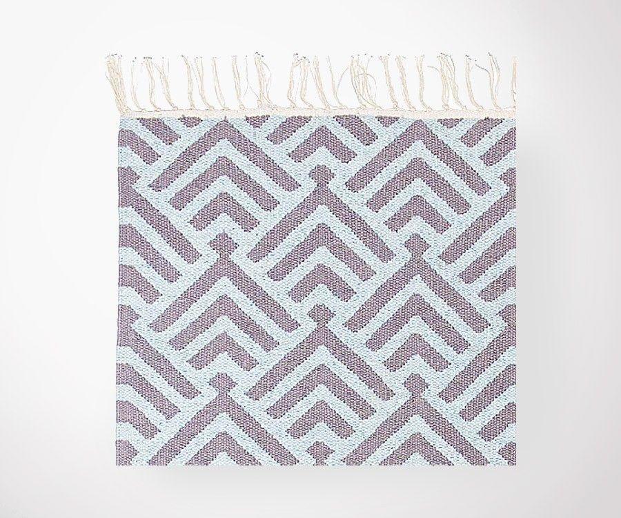 Tapis plat coton PALM bleu ciel/gris - 200x300 cm