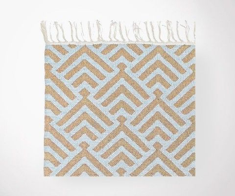 PALM Blue Sky / sand Flat Carpet Cotton - 200x300 cm
