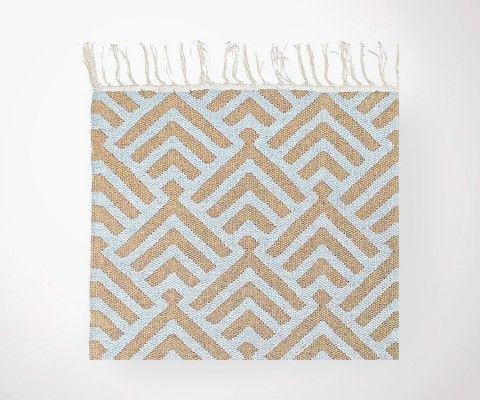 Tapis Plat PALM Bleu ciel / sable en coton - 200x300 cm