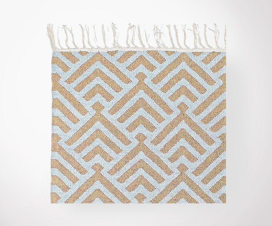Tapis plat coton PALM bleu ciel/sable - 200x300 cm