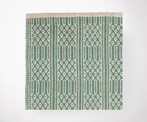 Tapis plat coton BASEL vert/écru - 200x300 cm