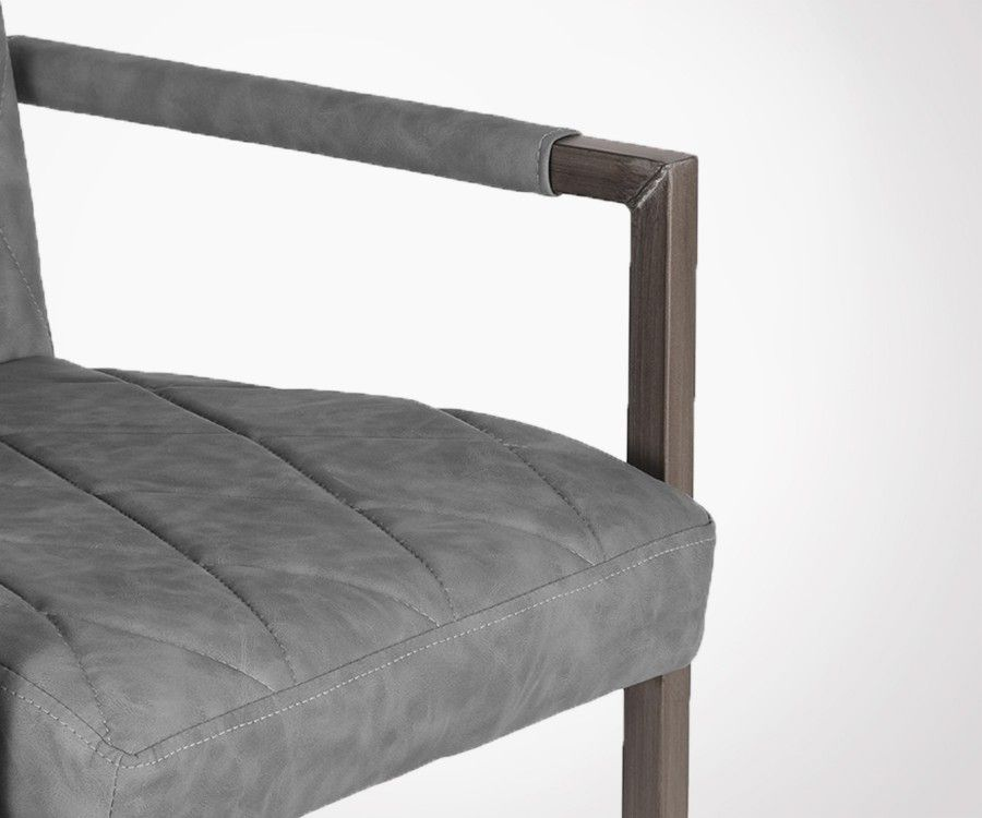 Chaise salle a manger design en simili cuir et metal RIXY - Label 51