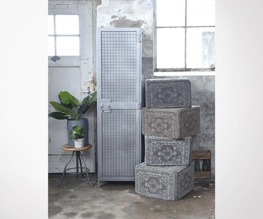 Armoire haute une porte en metal gris LUMINE - Label 51