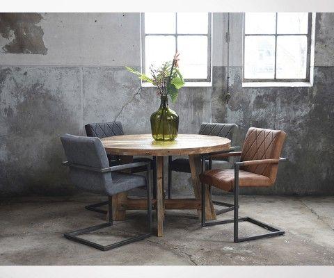 Chaise salle a manger design en simili cuir et metal RIXY - Label 51