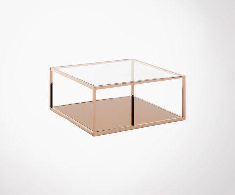 Table basse carrée 80cm verre et métal cuivré HILTOP