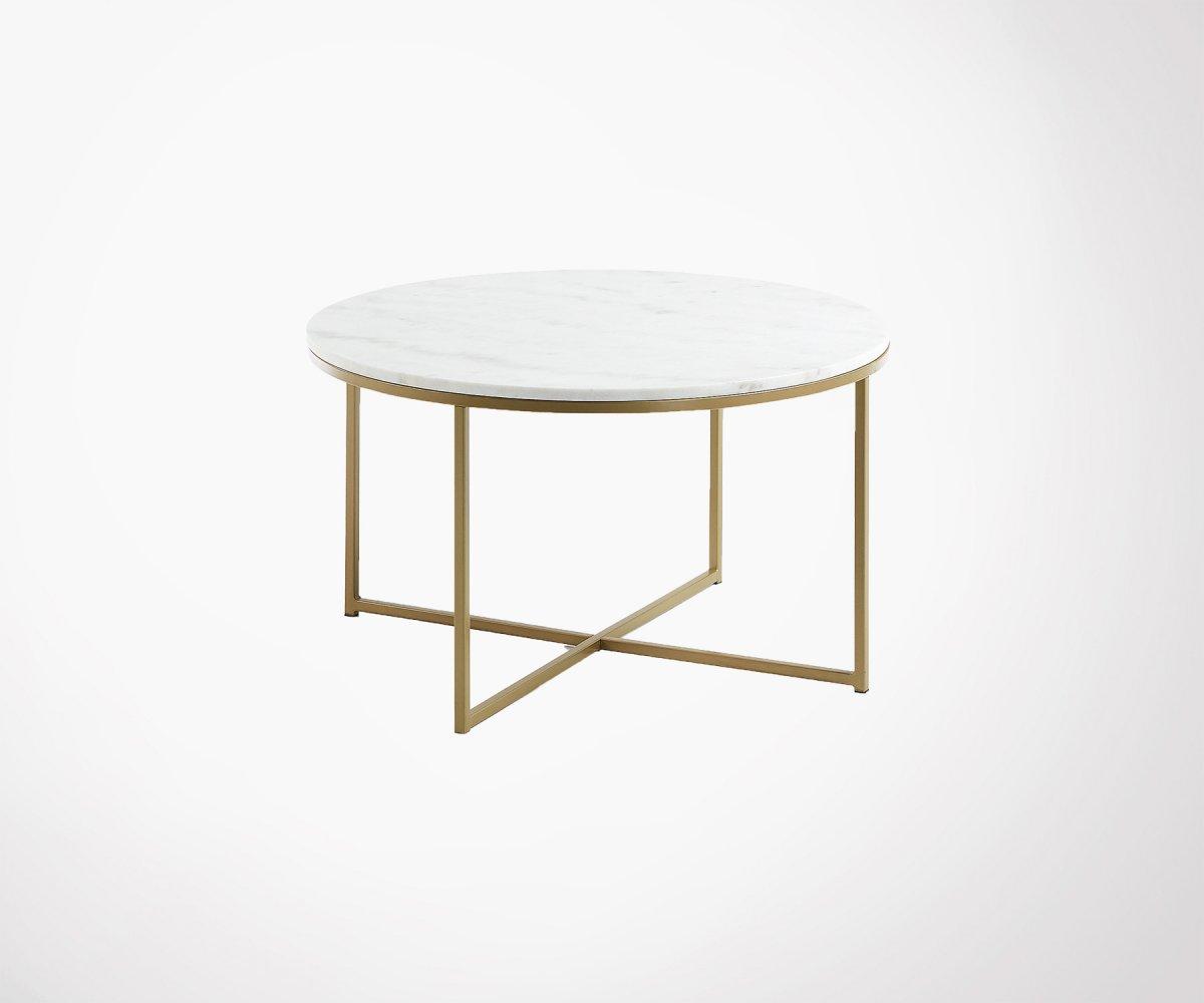 Table Basse Ronde Art Deco table basse ronde 80cm marbre et laiton style art déco