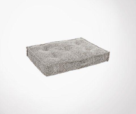 Coussin de sol 60x80cm tissu noir blanc ZIGZAG