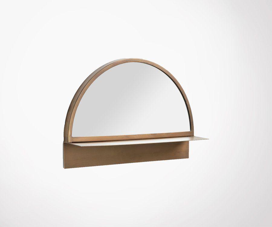 Miroir demi sphère avec tablette laiton LUTZOR