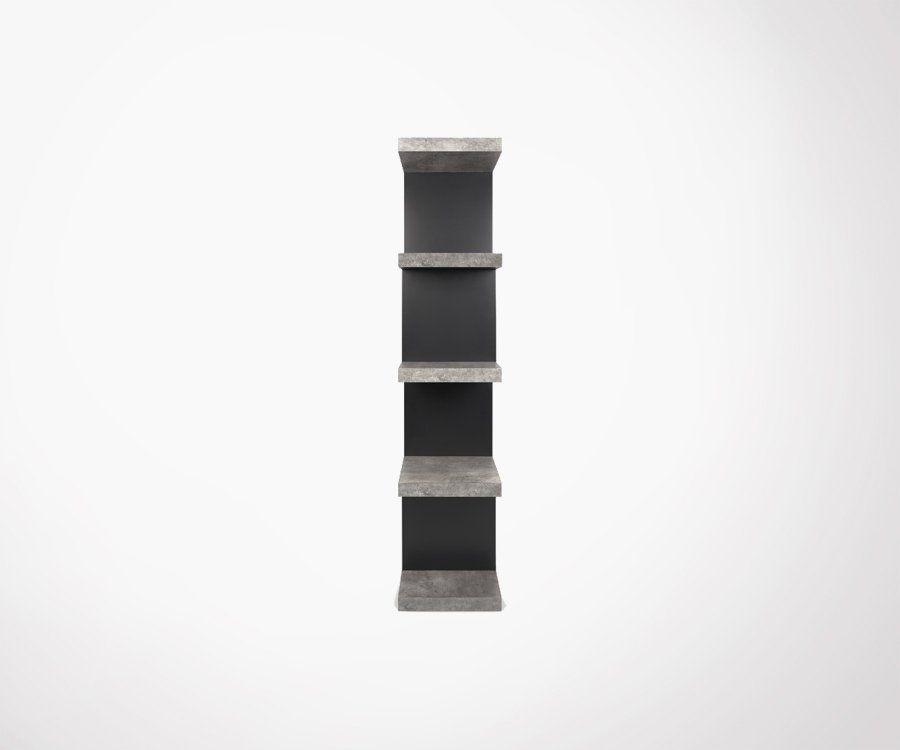 Étagère ouverte aspect béton 172cm STEPHIGH - Temahome