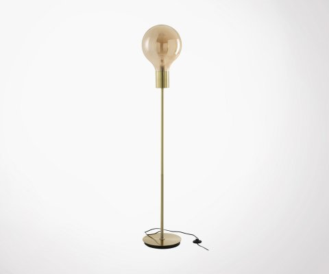 Lampadaire design en verre et métal BULB