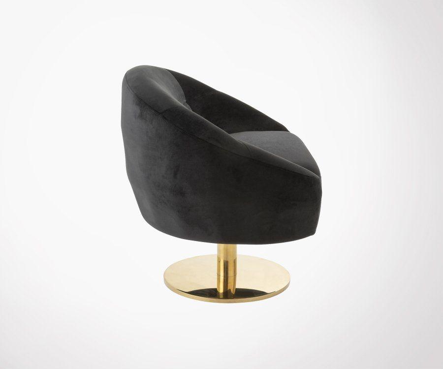 Fauteuil design velours noir pieds métal doré CLIP