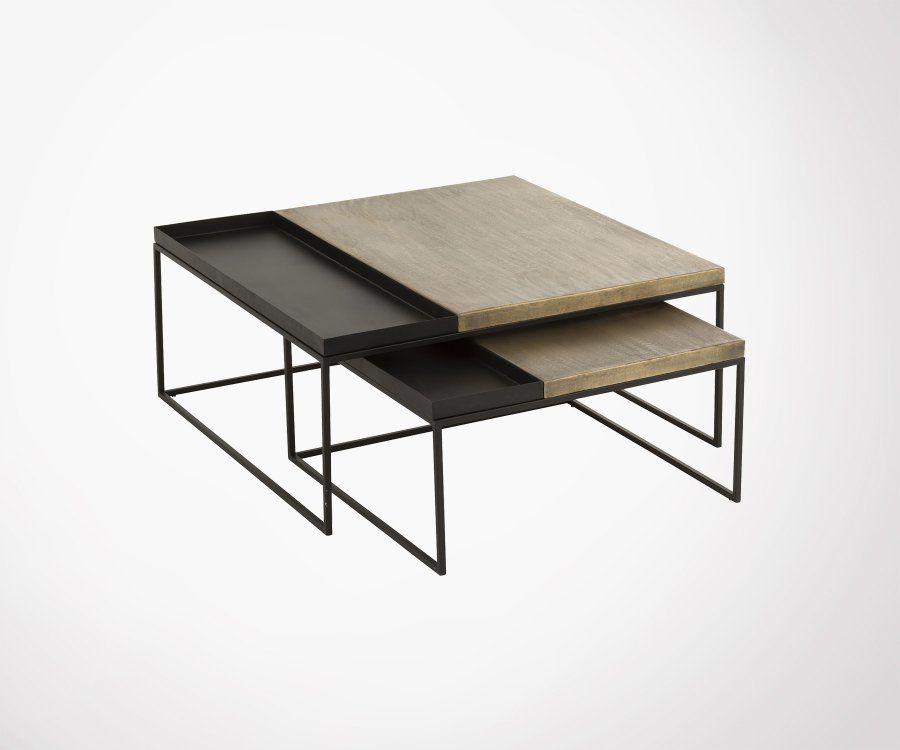 Duo tables gigognes carré métal noir et doré DERNA