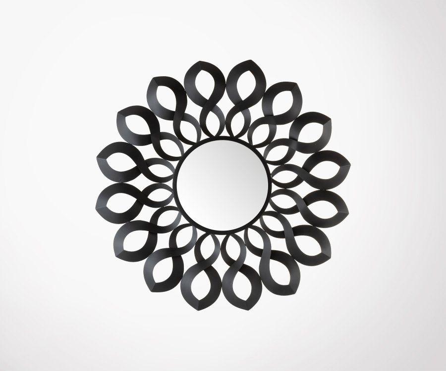 Miroir design rond 92cm métal noir FLOKA