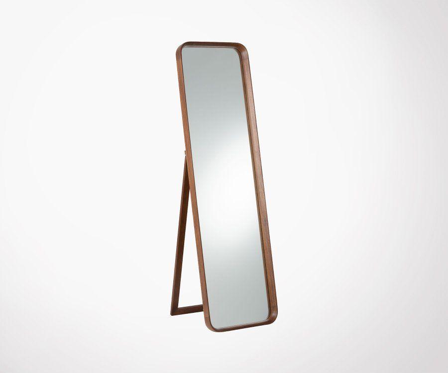 Grand miroir vertical sur pied en bois LUNO