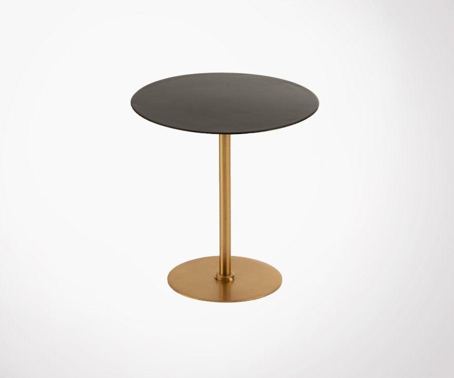 Petite table ronde plateau laqué noir pieds métal doré SHINE