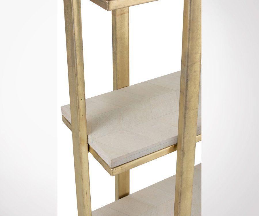 Etagère 4 étages bois et métal blanc et doré TINA
