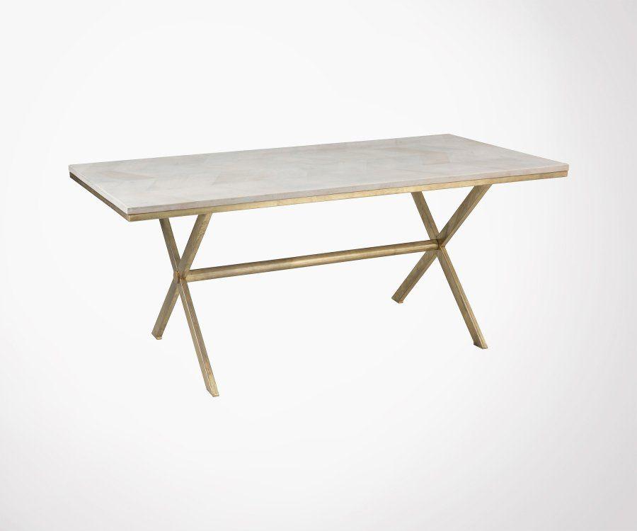Table moderne en métal blanc et doré et bois TINA