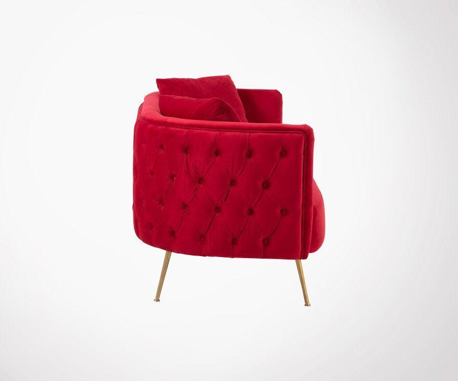Canapé moderne velours rouge pieds métal doré VIVEL