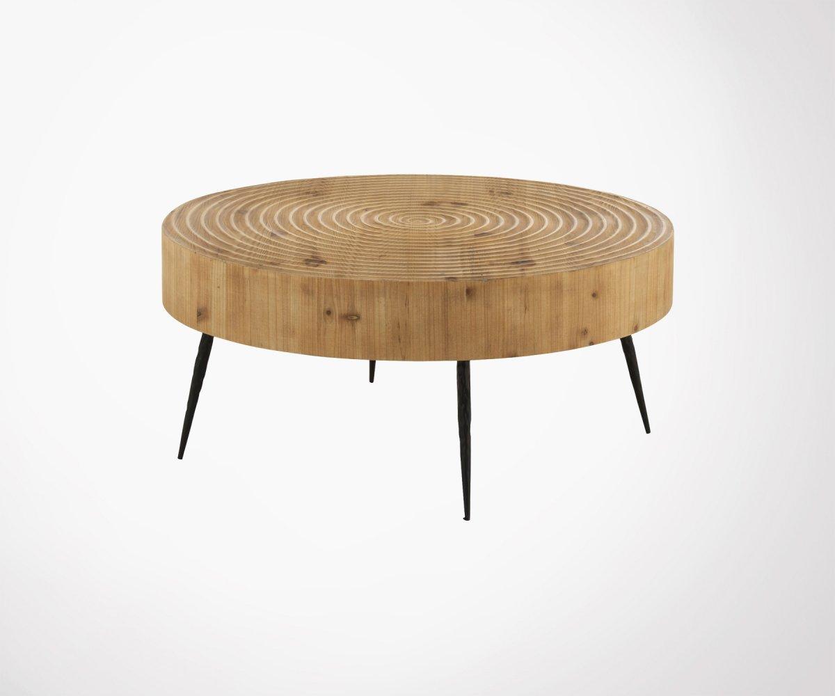 taille 40 00803 c5f4b Table basse ronde 80cm bois gravé naturel style bohème - J-Line
