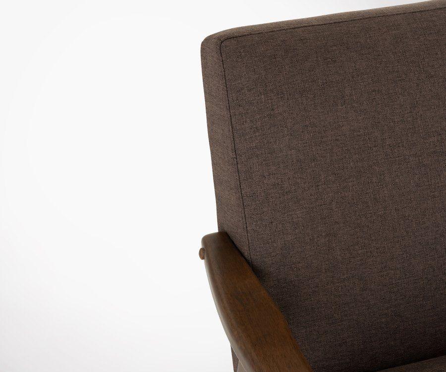 Fauteuil style vintage tissu et bois DABU