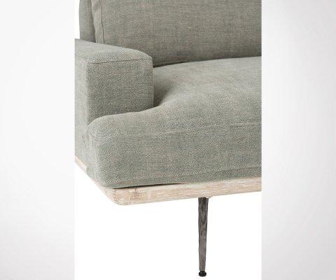 Canapé 3 places en tissu olive et en chêne LIVERA