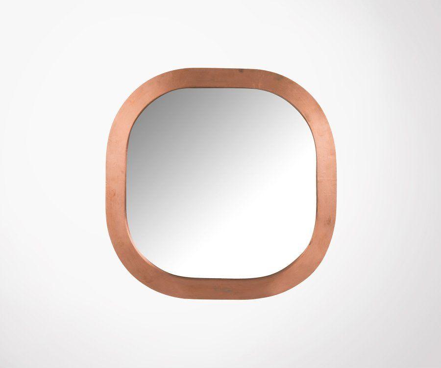 Miroir design 61cm carré cuivre PIK