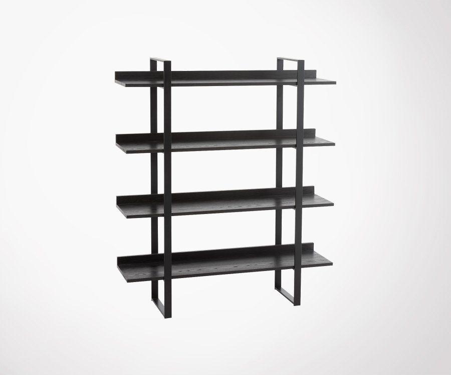 Étagère design bois et métal noir ZAFF
