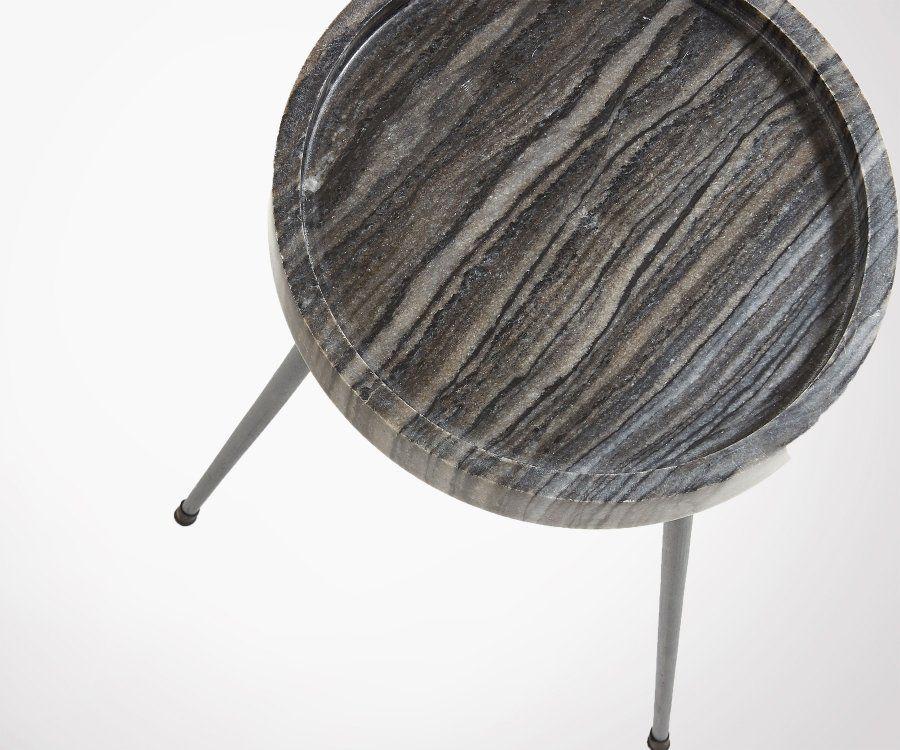 Table d'appoint design plateau rond en mabre gris avec pieds métal KRAVIT