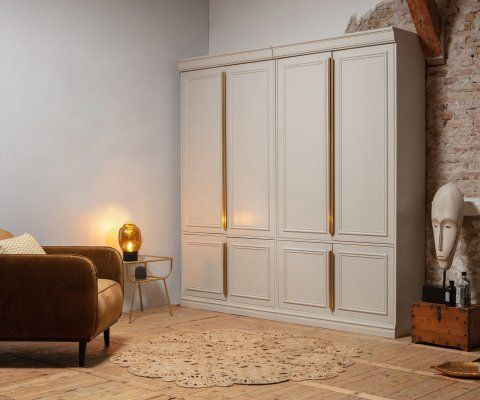 Armoire robuste bois massif finition laiton CLOUD - BePureHome
