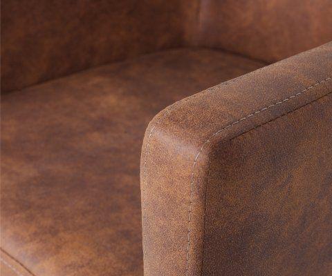 Fauteuil simili cuir cognac vintage et pieds bois JAMINI - Woood