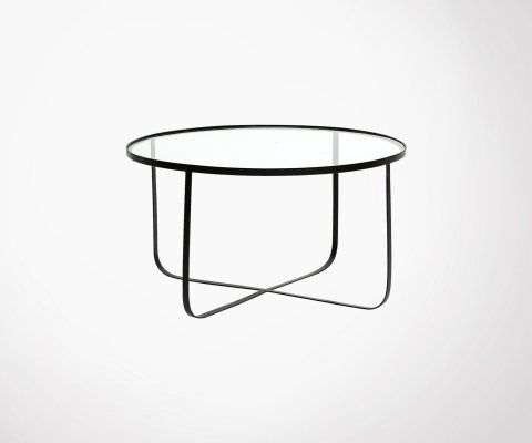 Table verre 80 cm pied métal LOLA - Bloomingville
