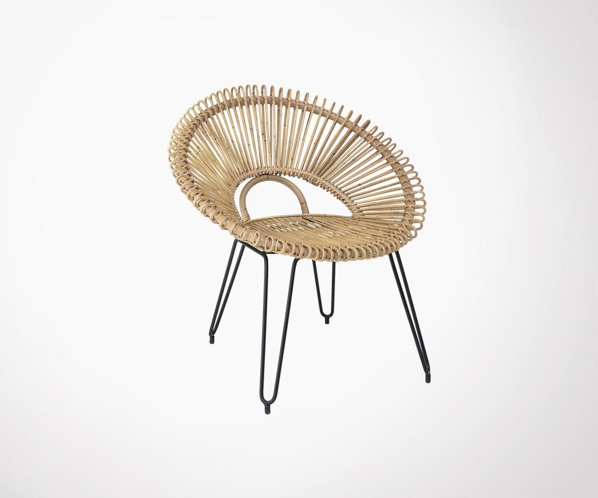 Chaise lounge en rotin véritable et pieds métal noir - Bloomingville