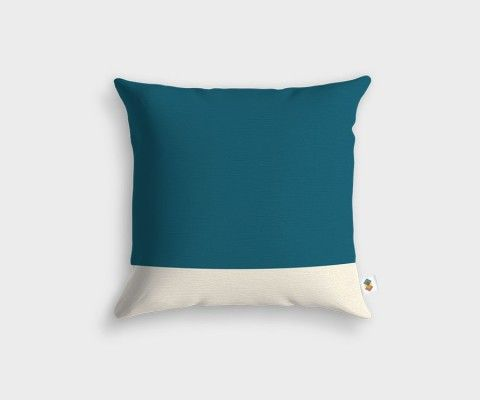 BASIC Stripped White Teal Cushion - 45x45cm