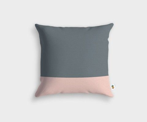 BASIC Stripped Grey Pink Cushion - 45x45cm