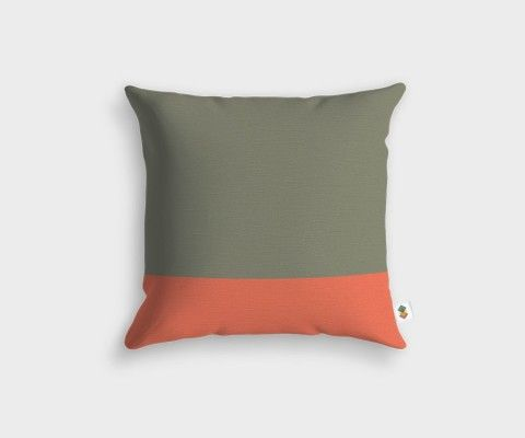 BASIC Stripped Peach Olive Cushion - 45x45cm