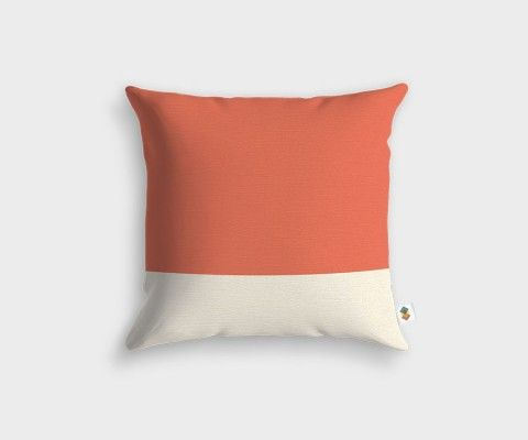 BASIC Stripped White Peach Cushion - 45x45cm