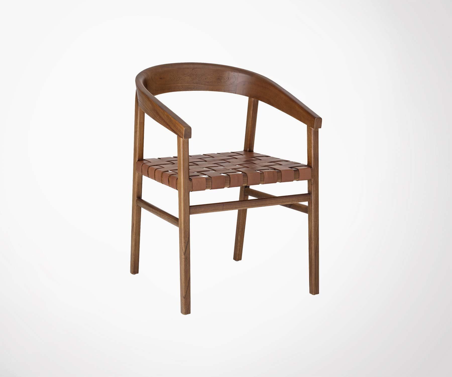 Chaise vintage en cuir et bois mindi Collection rétro