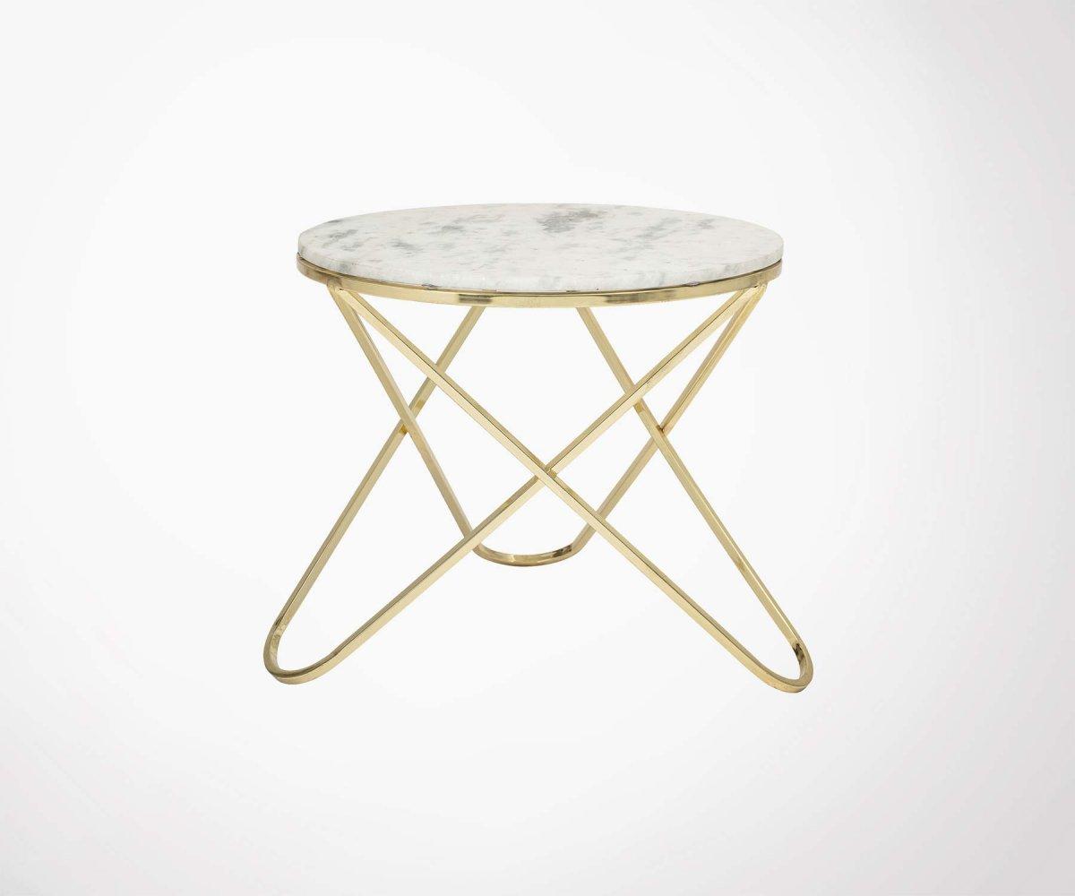 Petite table basse art déco marbre blanc et pieds métal dorée
