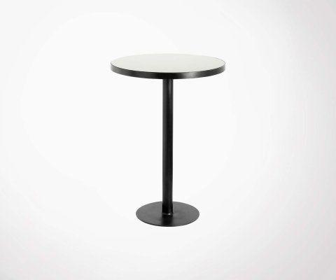 Table haute ronde 80cm plateau verre noir GOGE - Nordal
